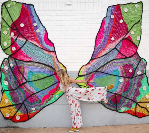 Murals by London Kaye seen at The Foundry District, Fort Worth, Texas, Fort Worth - Butterfly Wings