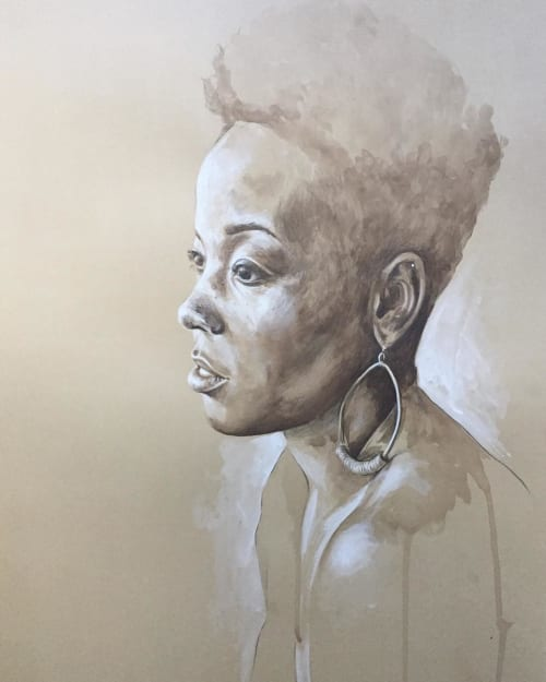 Paintings by Sarah Miller seen at Common House, Charlottesville - Woman Portrait