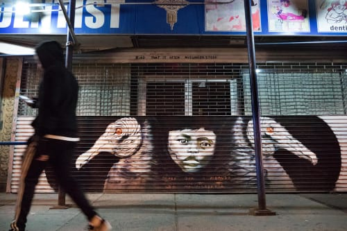 Street Murals by Marthalicia Matarrita seen at 3627 Broadway, NY, New York - Black Vultures