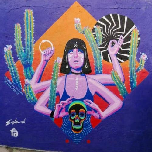 "Painted Mural ""Samsara""   Street Murals by Fabifa   Panteón Guadalupe Mixcoac in Ciudad de México"