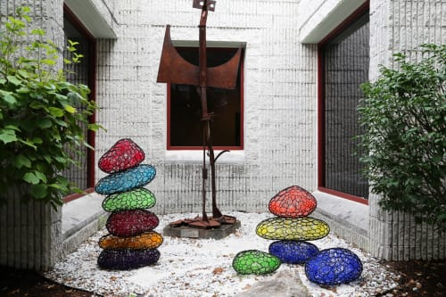 Public Sculptures by Sui Park seen at Pelham Art Center, Village of Pelham - Poly