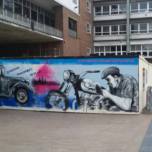Street Murals by Dynamick seen at Coventry Transport Museum, Coventry - Transport Mural