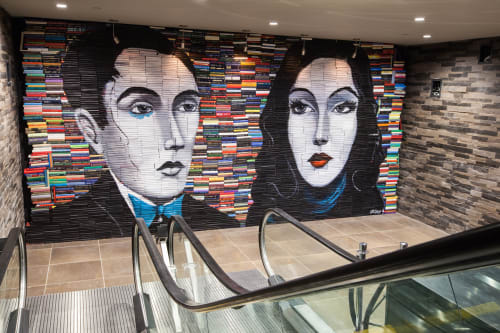 "Murals by Mike Stilkey seen at iPic Theater, Houston Texas, Houston - ""Reworking The Past"" mural"