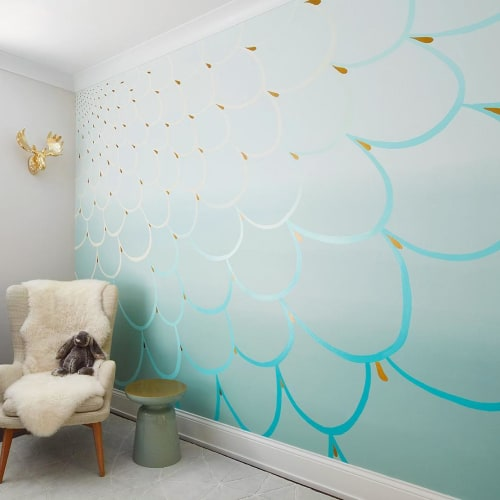Murals by Relativity Textiles seen at Private Residence, Chicago - Peacock Teal Custom Nursery Mural