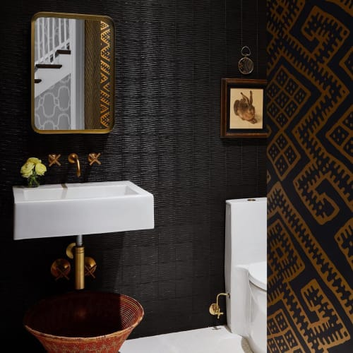 Wallpaper by Relativity Textiles seen at Private Residence, Deerfield - Kilim Black