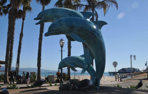 "Public Sculptures by James ""Bud"" Bottoms seen at Stearns Wharf, Santa Barbara - Dolphin Family"