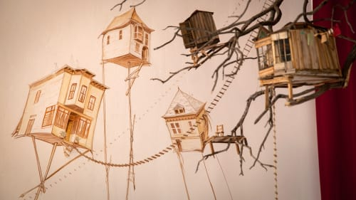 Murals by Mona Caron seen at Red Poppy Art House, San Francisco - The Mission Condition: Outwardly Mobile