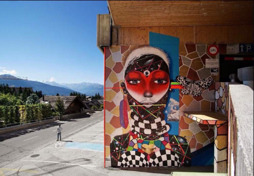 Murals by Chor Boogie seen at Crans-Montana Resort, Switzerland, Crans-Montana - Grandmother Loveland