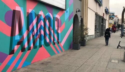 Murals by Teddy Kelly seen at Candela La Brea, Los Angeles - AMOR Mural
