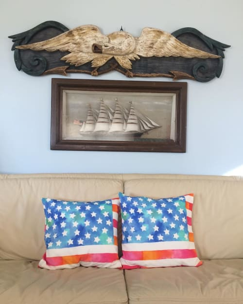 Pillows by Betsy Olmsted seen at Private Residence, Ocean City - Old Glory Banner Pillows