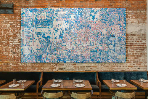 Paintings by Mark Bradford seen at Manuela, Los Angeles - Abstracted LA Map