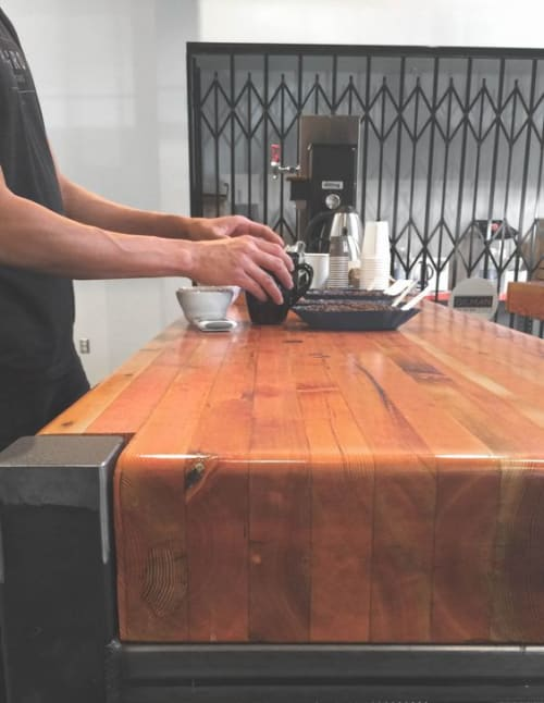 Tables by TRUE Handcrafted seen at Allegro Coffee Roasters - Gilman, Berkeley - Barista Bar