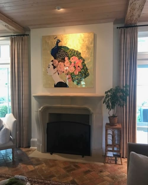 Paintings by Ashley Longshore at Private Residence, New York - Audrey With Peacock And Flower Headdress And Gold Leaf Background