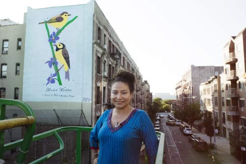 Street Murals by Geraluz seen at 522 W. 147th St, New York, New York - Hooded Warbler