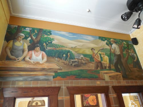Murals by Emrich Nicholson seen at United States Postal Service - Vacaville, Vacaville - Fruit Season, Vacaville