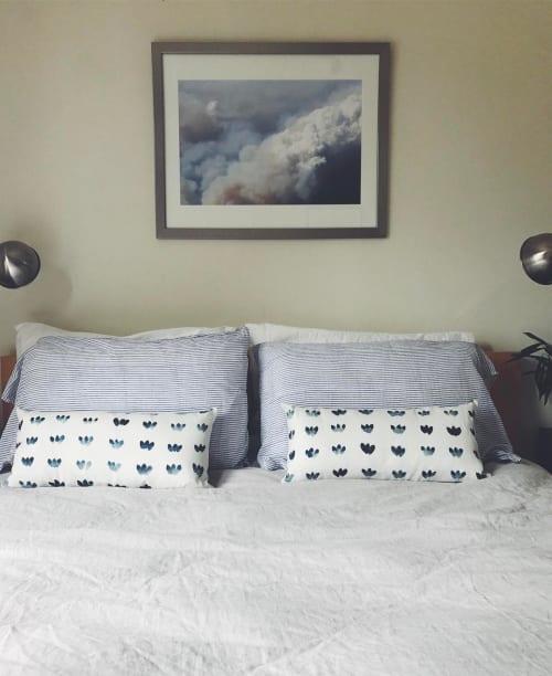 Pillows by Martha Oakes seen at Private Residence, San Francisco - Indigo Petal Rows Linen Pillow