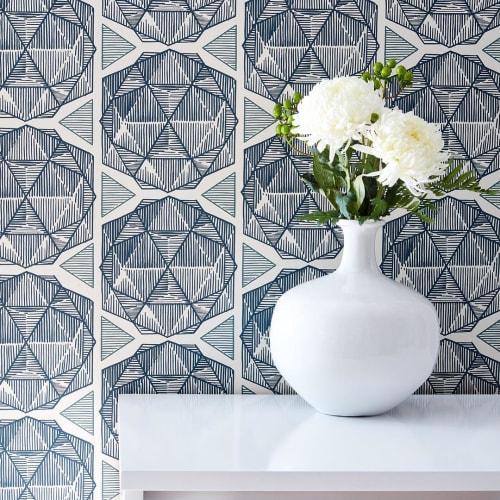 Wallpaper by Relativity Textiles at Private Residence, Chicago - Navy Geometrics