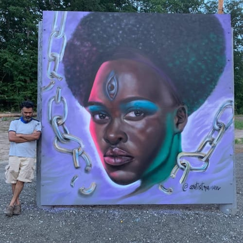 Street Murals by artistraman seen at Family Dollar, Greensboro - Ode to Black Beauty