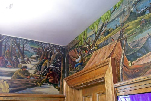 Murals by Olin Dows seen at United States Postal Service - Hyde Park, Hyde Park - Professions and Industries of Hyde Park