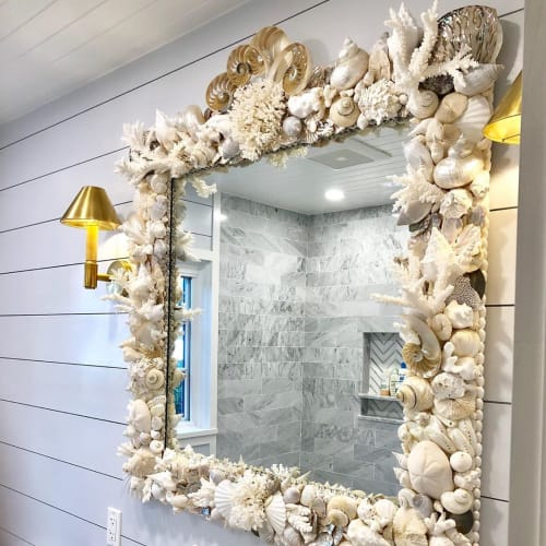 Art & Wall Decor by Christa Wilm seen at Private Residence, Delaware - Seashell Mirror