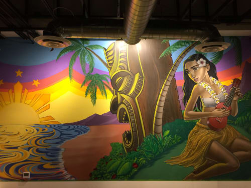 Murals by John Park seen at Fists of Fusion Island Grill,  Las Vegas, NV, Las Vegas - Hula Babae 2017