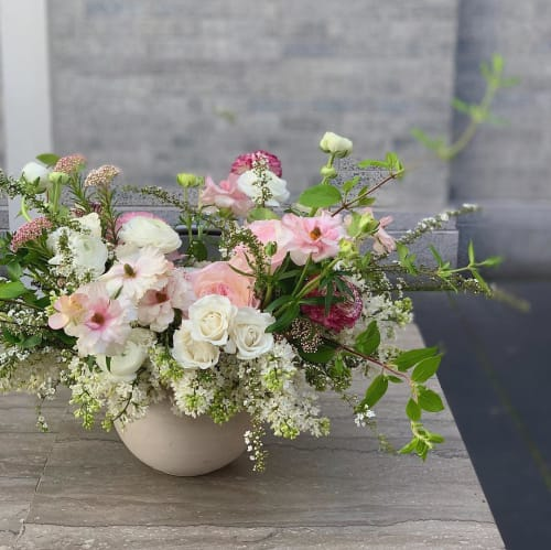 Floral Arrangements by Wallflower Design seen at Trou Normand, San Francisco - Pink Blooms