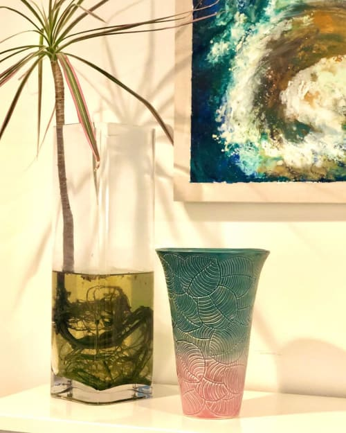 Vases & Vessels by Maya Ceramics and Paintings seen at Alberta Street Gallery, Portland - Turquoise and Pink Ceramic Vase