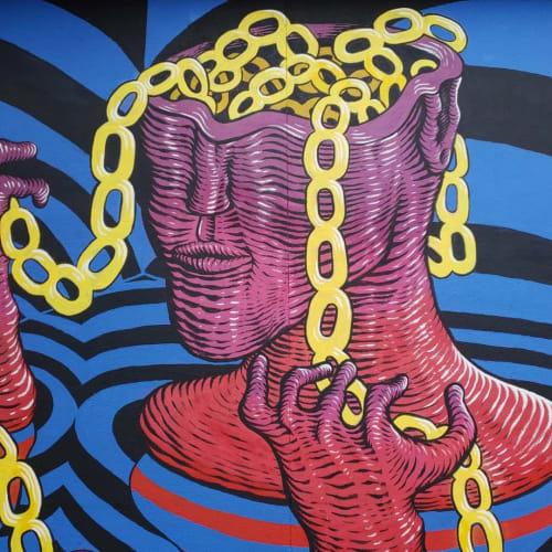 "Murals by Nathaniel Benjamin - Prints & Paintings seen at Circus Circus Reno, Reno - ""Strong as the Weakest Link"""