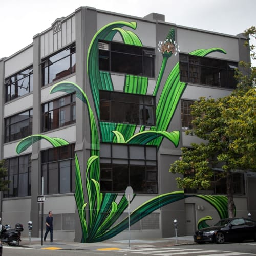 Murals by Mona Caron seen at The Abbott Building, San Francisco - Plantago Lanceolata