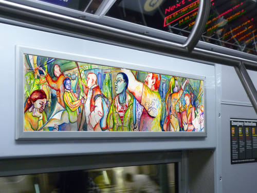 Paintings by Ariana Nehmad Ross at New York, New York - Strangers on the Subway