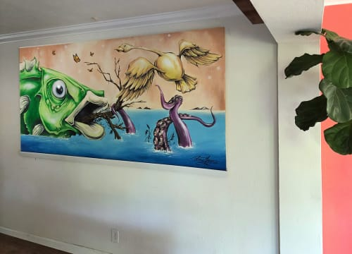 Paintings by Patrick Maxcy at Island Water Sports, Deerfield Beach - Fish Painting