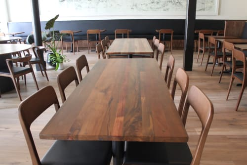 Tables by TRUE Handcrafted seen at Mister Jiu's, San Francisco - Teak Table Tops