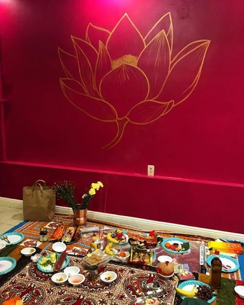 Murals by Jeffrey Nemenzo seen at Keeva Indian Kitchen, San Francisco - Lotus Wall