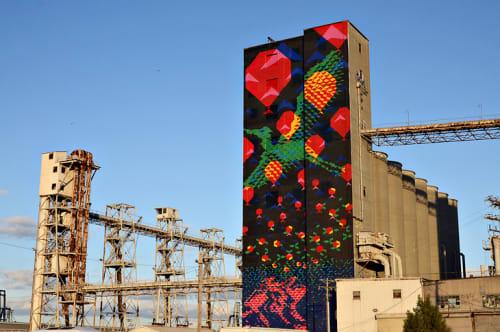 Murals by Haddad|Drugan seen at Port of San Francisco - Pier 92, San Francisco - Bayview Rise