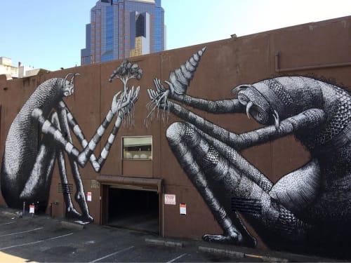 Street Murals by Phlegm seen at Improv Alley, Sacramento - Two Weird Species