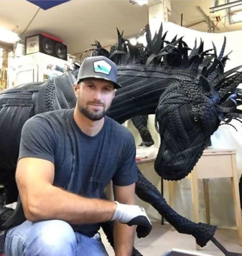 Public Sculptures by Blake McFarland seen at Western Michigan University, Kalamazoo - Buster the Bronco