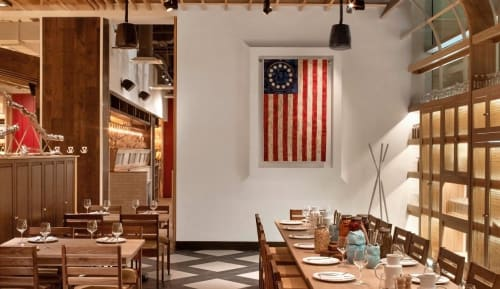 Wall Hangings by Susan Fuller of Fuller by Design seen at Founding Farmers Tysons, Tysons - 13-Star Flag Quilt