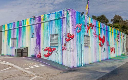 Murals by Kenny Scharf seen at Hiromi Paper, Inc, Culver City - Mural at Hiromi Paper Inc