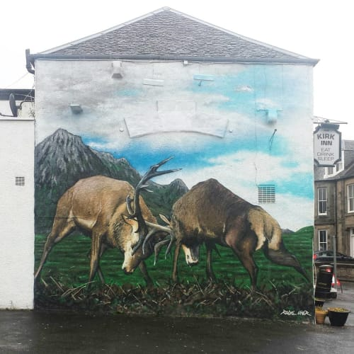 Street Murals by Rogueoner seen at The Kirk Inn, Kirkcaldy - Fighting Stags