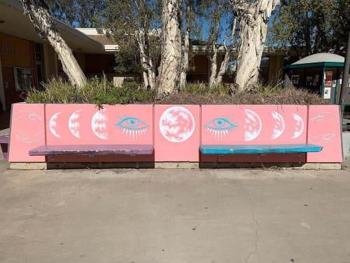 Street Murals by Wandering Delilah (Delilah Strukel) seen at Grossmont College, El Cajon - Moon and Eye
