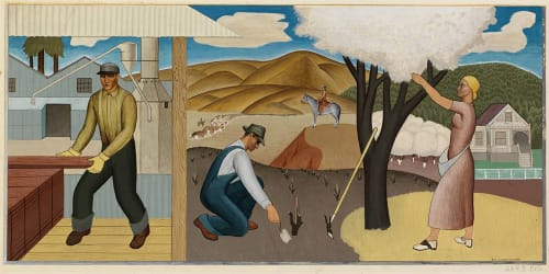 Murals by Ben Cunningham seen at United States Postal Service - Ukiah, Ukiah - Resources of the Soil