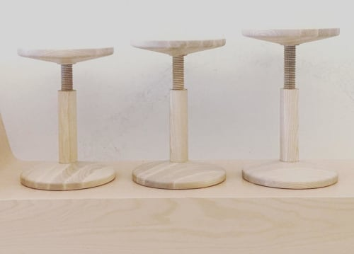 Chairs by Karoline Fesser of Hem seen at Coffee for Sasquatch, Los Angeles - All Wood Stool
