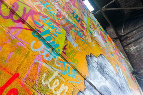 Street Murals by CALUM MEDFORTH seen at Ten Streets Market, Liverpool - Zeus