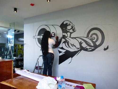 Murals by Cera Cerni seen at Fitness Plus, Lagos - Wall Mural