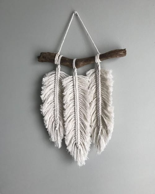 Macrame Wall Hanging by Pearly's Rose seen at DOG EAT DOG, Sarnia - Feather Wall Hanging