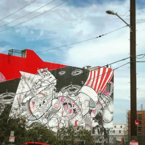 Street Murals by How and Nosm (Raoul and Davide Perre) seen at Downtown Los Angeles, Los Angeles - Heartship