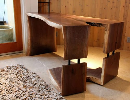 Tables by Steel & Grain at Manhattan Beach Home Office, Manhattan Beach - Triple Waterfall Leg Desk