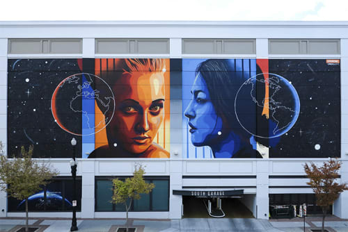 Murals by Dourone seen at Clark Planetarium, Salt Lake City - Two Faces of Earth