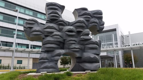 Sculptures by Lawrence Argent seen at Martin Luther King Jr. Community Hospital, Los Angeles - Pieces Together