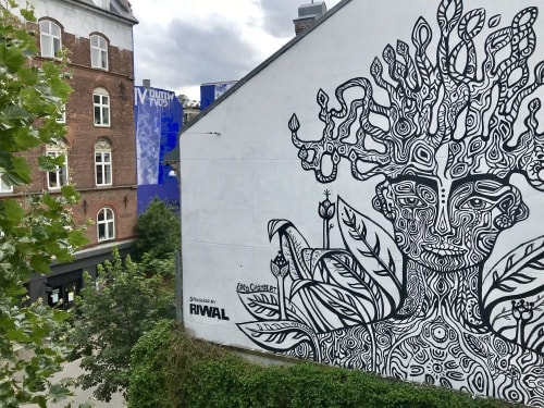Murals by Ebba Chambert seen at Private Residence, Copenhagen - Tree of life, tree of knowledge, Yggdrasil, Bodhi tree, Axis mundi